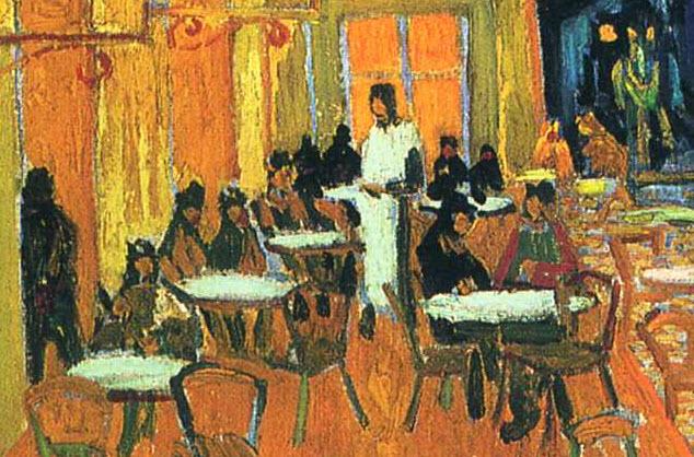 Flitto Content Terraza De Café Por La Noche Con